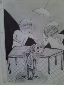 Hängen geblieben, Schwarz weiß, Bleistiftzeichnung, Ekstase