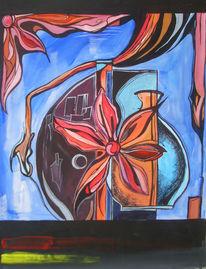 Blumen, Abstrakt, Vase, Acrylmalerei