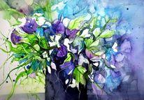 Blumen, Vase, Sillleben, Aquarell