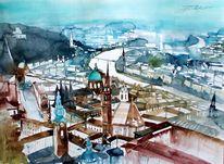 Salzburg, Aquarellmalerei, Stadt, Kirche