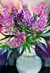 Blumen, Blumenstillleben, Strauß, Aquarell