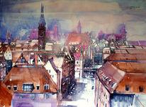 Stadtlandschaft, Dachlandschaft, Stadtansicht, Aquarellmalerei