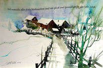 Scheune, Winterlandschaft, Weg, Pinzgau
