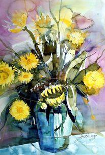 Sonnenblumen, Vase, Stillleben, Aquarell