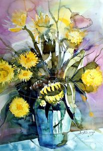 Stillleben, Blumen, Aquarellmalerei, Vase