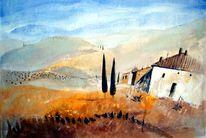 Materialbilder, Acrylmalerei, Italien toskana, Landschaft