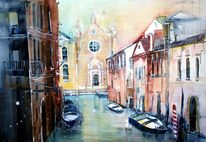 Kanal, Lagunenstadt, Aquarellmalerei, Stadtlandschaft