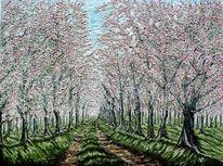 Post impressionismus, Blühende baumallee, Norden, Altes land