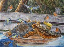Sonnenblumen, Wildvögel, Erntedankfest, Teller