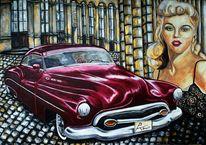Oldtimer, Portrait, Sängerin, Rotes auto
