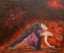 Tango tanzpaar, Hexe teufel, Hexen teufel, Ölmalerei