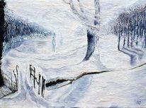 Winterlandschaft, Berndtart, Schneegestöber, Weisse wanderer