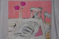 Rosa, Katze, Blumen, Tisch