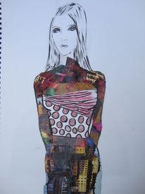 Collage, Skizze, Malerei, Dame