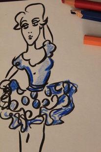 Bailarina, Tanz, Malerei, Blau