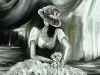 Blumen, Raum, Frau, Fantasie
