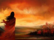Frau, Landschaft, Himmel, Vogel