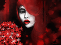 Blumen, Ausdruck, Rot, Frau