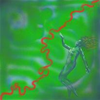 Spirale, Unterwasser, Frau, Grün