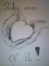 Bleistiftzeichnung, Herz, Hände, Malerei