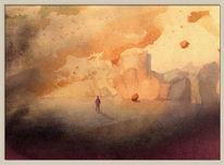 Farben, Landschaft, Pinsel, Aquarellmalerei