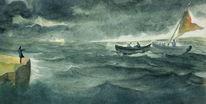 Sturm, Dunkel, Boot, Grün