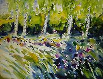 Landschaft, Birken, Aquarell