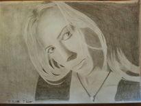 Frau, Portrait, Blick, Bleistiftzeichnung