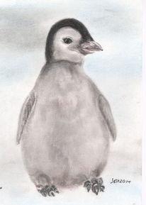 Pinguin, Tiere, Zeichnung, Pastellmalerei