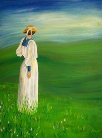 Acrylmalerei, Frau, Gewitterlandschaft, Malerei