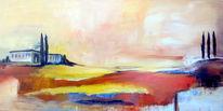 Acrylmalerei, Mallorca, Landschaft, Hügel