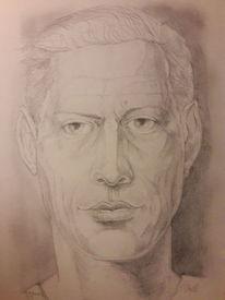 Selbstportrait, Bleistiftzeichnung, Emotion, Zeichnungen