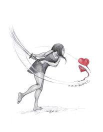 Herz, Frau, Schwert, Zeichnungen