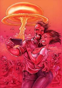 Krieg, Paar, Atompilz, Tod