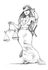 Göttin, Waage, Justitia, Zeichnungen