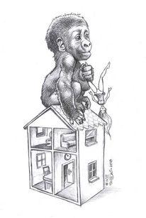 Barbie, Puppenhaus, Gorilla, Zeichnungen