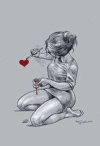 Herz, Frau, Zeichnung, Zeichnungen