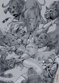 Frau, Hund, Jagd, Zeichnungen