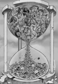 Knochen, Sanduhr, Tod, Zeit
