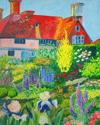 Gebäude, Garten, Blumen, Malerei