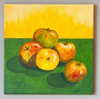 Apfel, Früchte, Stillleben, Acrylmalerei