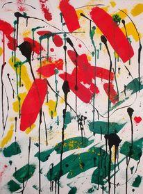 Acrylmalerei, Grün, Gelb, Abstrakt