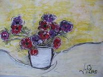 Blumenstrauß, Anemonen, Blumen, Vase