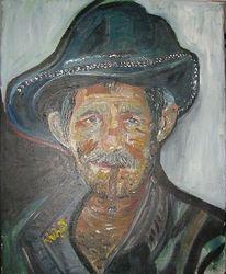 Kubaner mit zigarillo, Portrait, Alter mann, Malerei