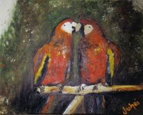 Papagei, Urwald, Liebespaar, Malerei