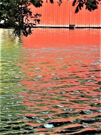Wasser, Spiegelung, Bootshaus, Farben