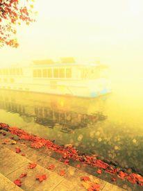 Blätter, Schiff, Fluss, Nebel