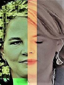 Frau, Politische farbenlehre, Umfrage, Gesicht