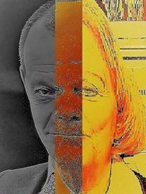 Politische farbenlehre, Frau, Gesicht, Portrait