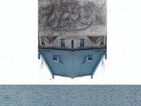 Collage, Meer, Frottage, Fotografie